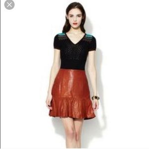 Nanette Lepore Brown Leather Catch Me Skirt